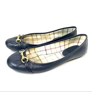 Coach authentic leather navy blue flats